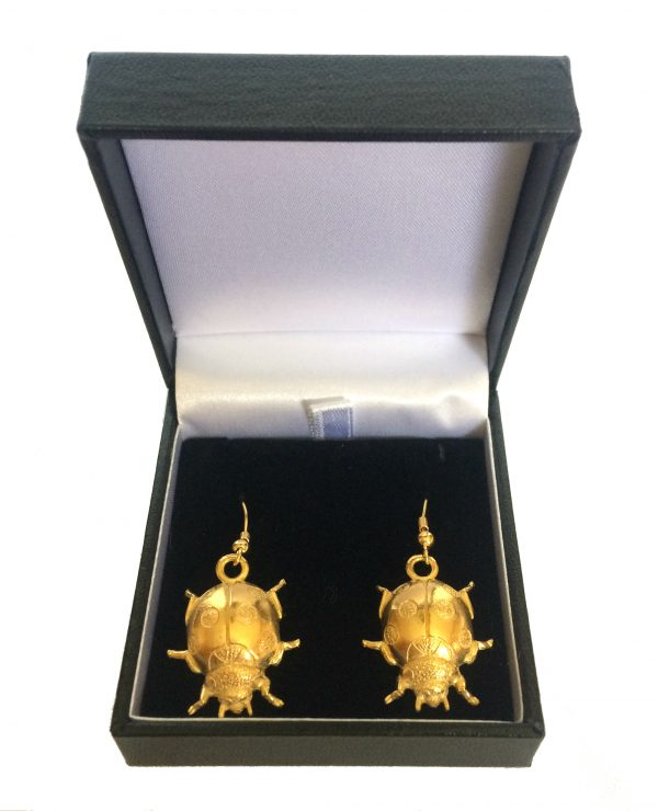 Ladybird Earrings, 22ct Gold Plated