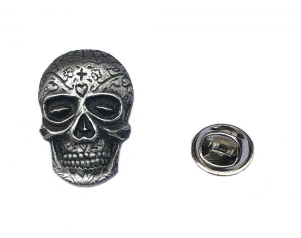 Sugar Skull Lapel Pin Badge