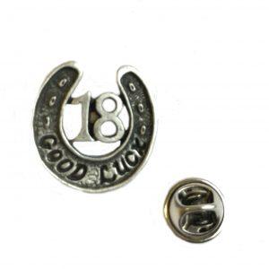 18th Good Luck Pin Badge