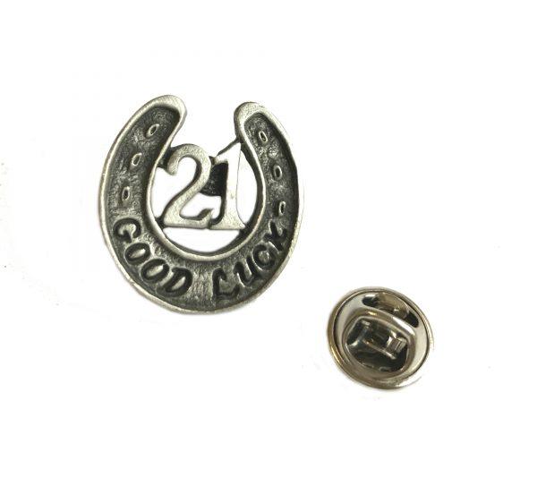 21st Good Luck Pin Badge